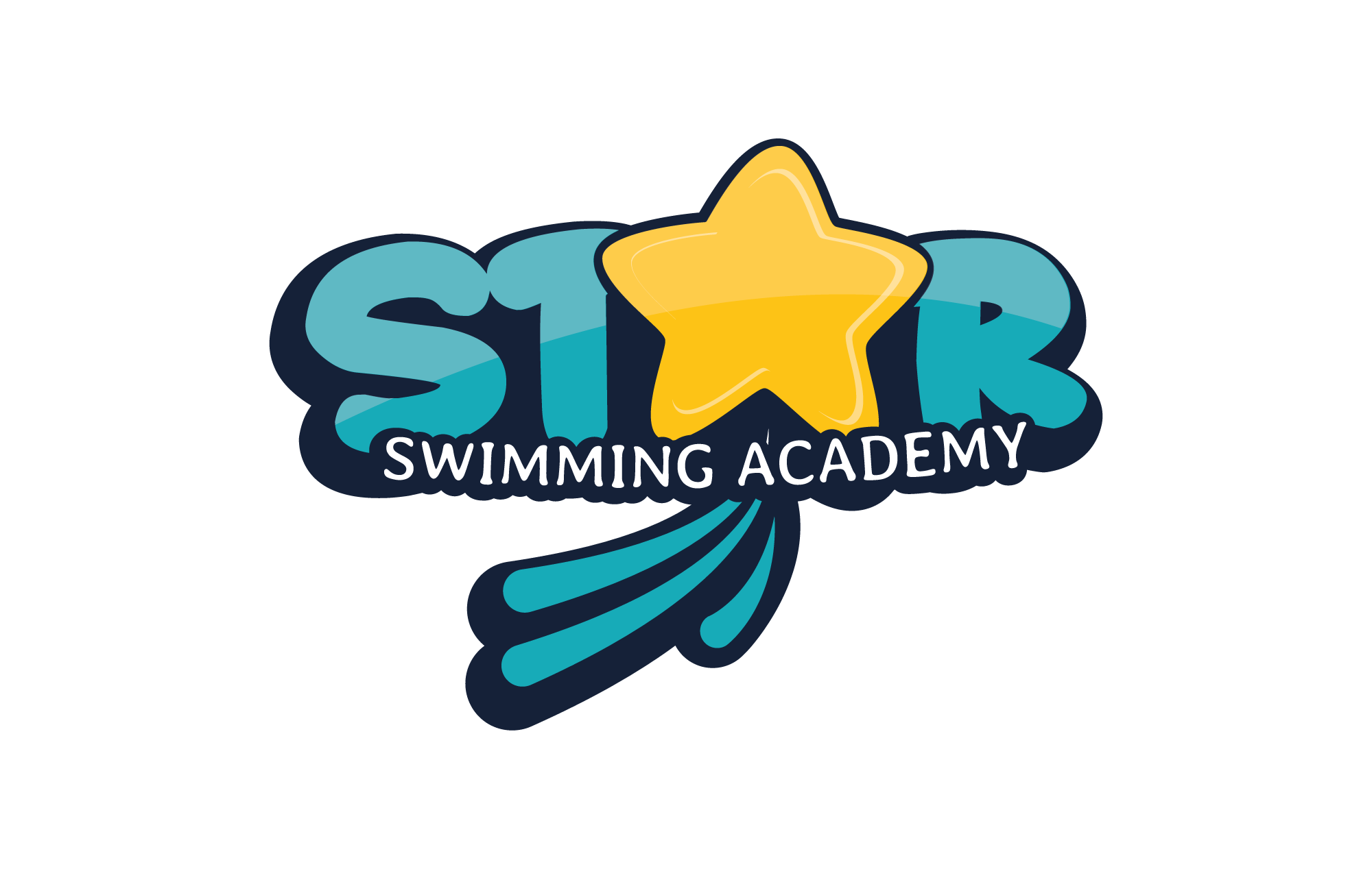 Star Swimming Logo with White Outline