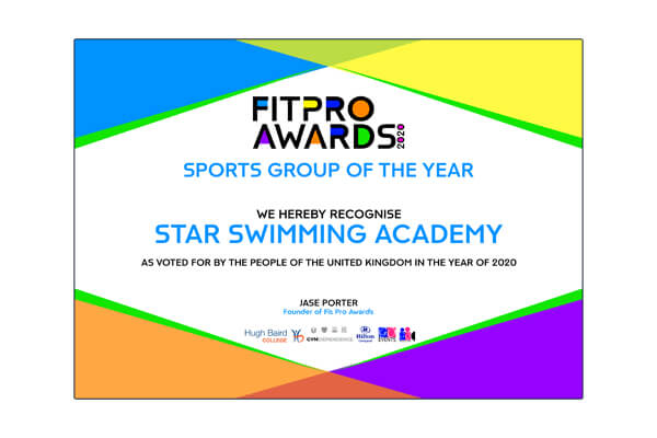 Star Swimming Academy Liverpool Fitness Professional Awards Sports Group Of The Year Winner 2020